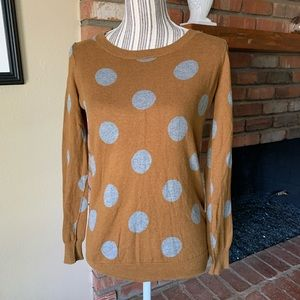 Madewell Wallace Brown Gray Polka Dot Sweater XS